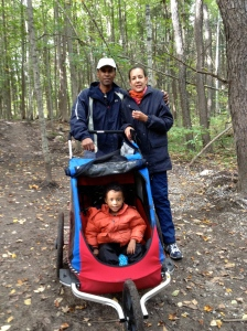 Rick, Fran and Malakai. Fall hiking in Seaton Trail.