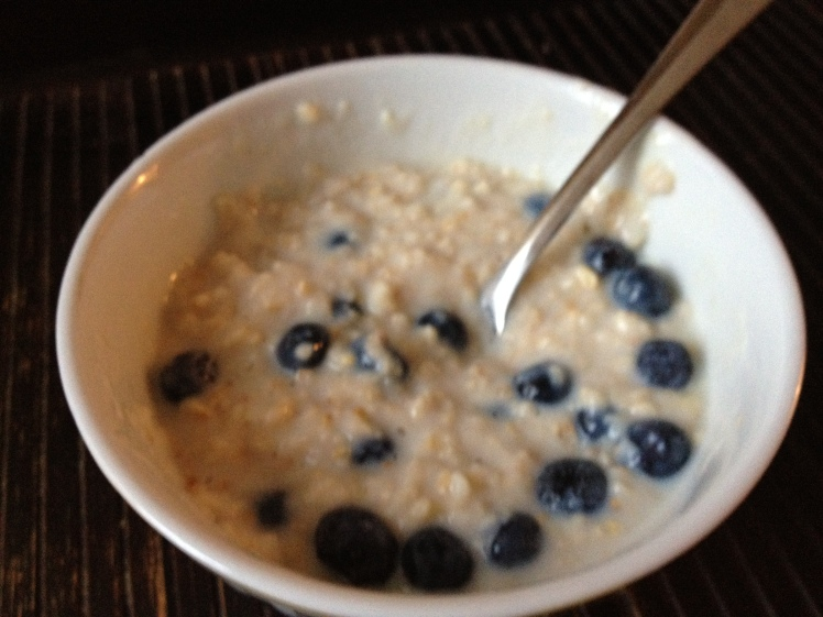 The day usually starts with oatmeal and berries