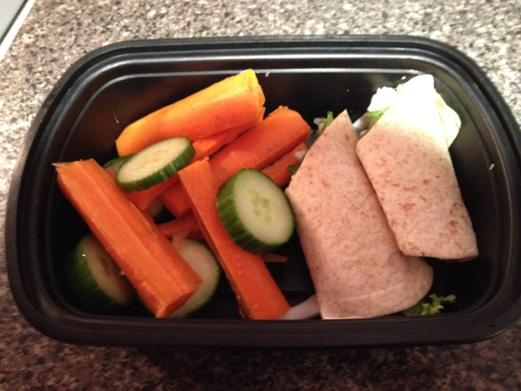 A typical lunch. Turkey breast wrap with vegetables