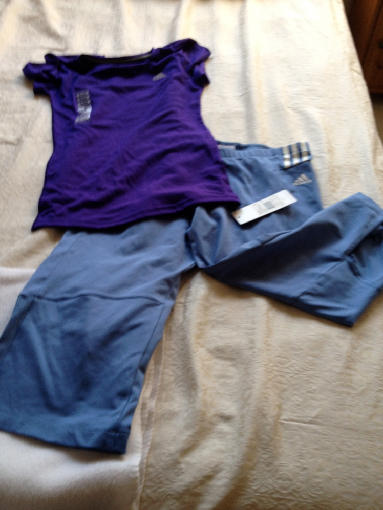 This outfit will match the blue and purple trainers I plan to get. Can't always be frumpy Dumpy at the gym.