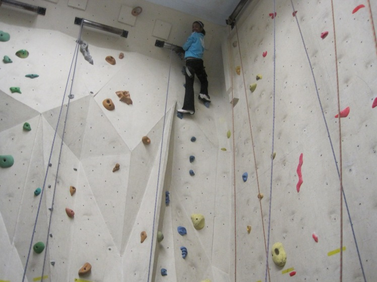Kayla, reaching for the top, as usual. You go, girl!Ajax Rock Climbing Club.