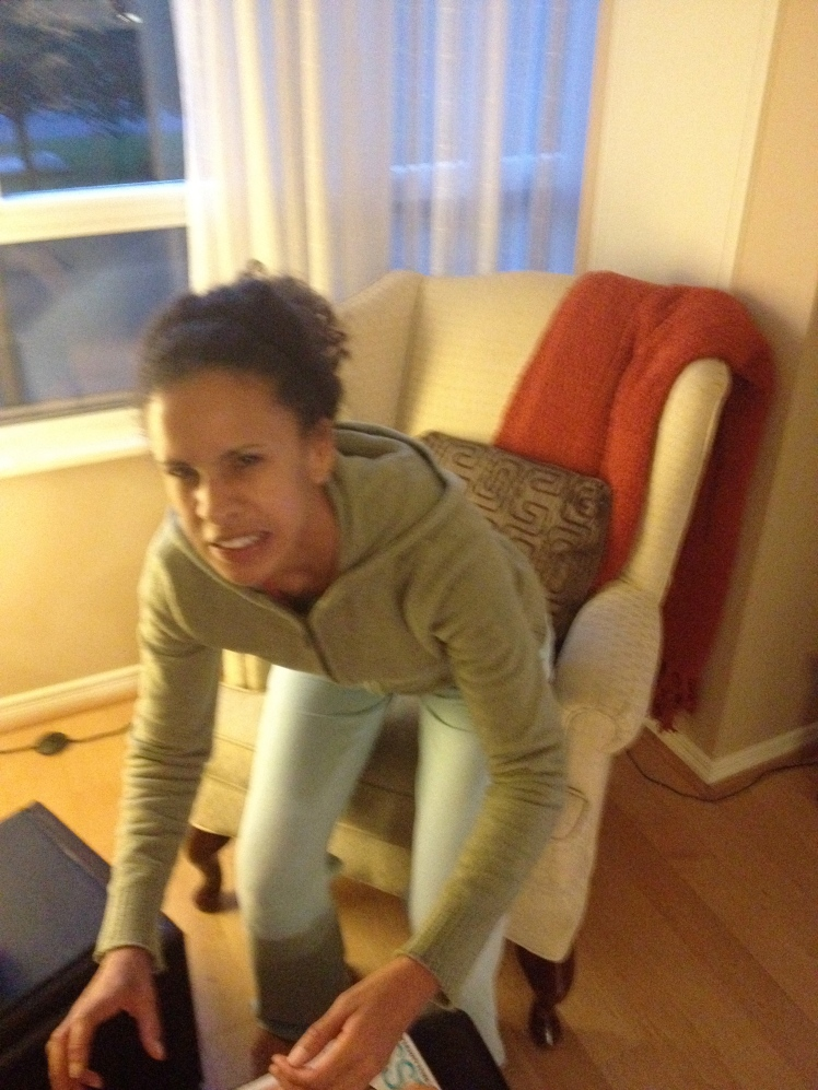 This is how I sat down over the next 48 hours  after my leg routine. Can't blame Andy for laughing, it's pretty funny.