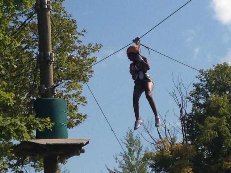 Mikayla at the end of the BIg Zip
