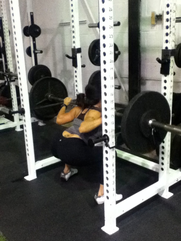Ninette working on her squats.