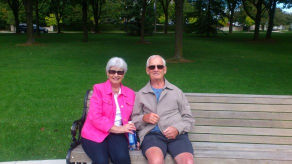 One of Brenda's clients enjoys the benefits of walking on the park with his wife and improving his mobility after a stroke.